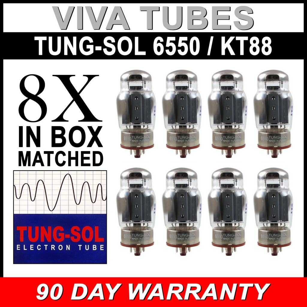 6 New Plate Current Matched Sextet Tung-Sol Reissue 6550 KT88 Vacuum Tubes